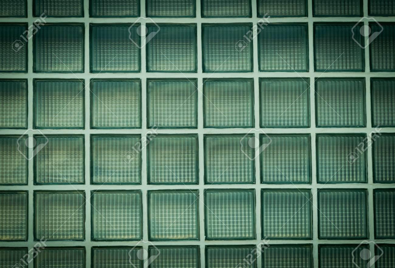 Vignette Grünen Wand Aus Glasbausteinen Hintergrund Lizenzfreie ...
