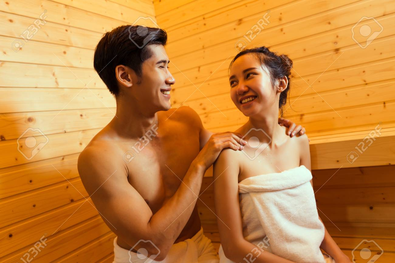 Stock Photo Young Asian Man Massage Woman Couple Together Sitting In Sauna Spa Room With Hot Warm Steam Happy Relaxing Resting For Health Care And Skin