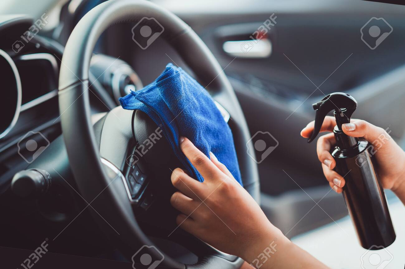 Steering Wheel Cleaner >> Professional Woman Cleaning Steering Wheel And Console Car Using