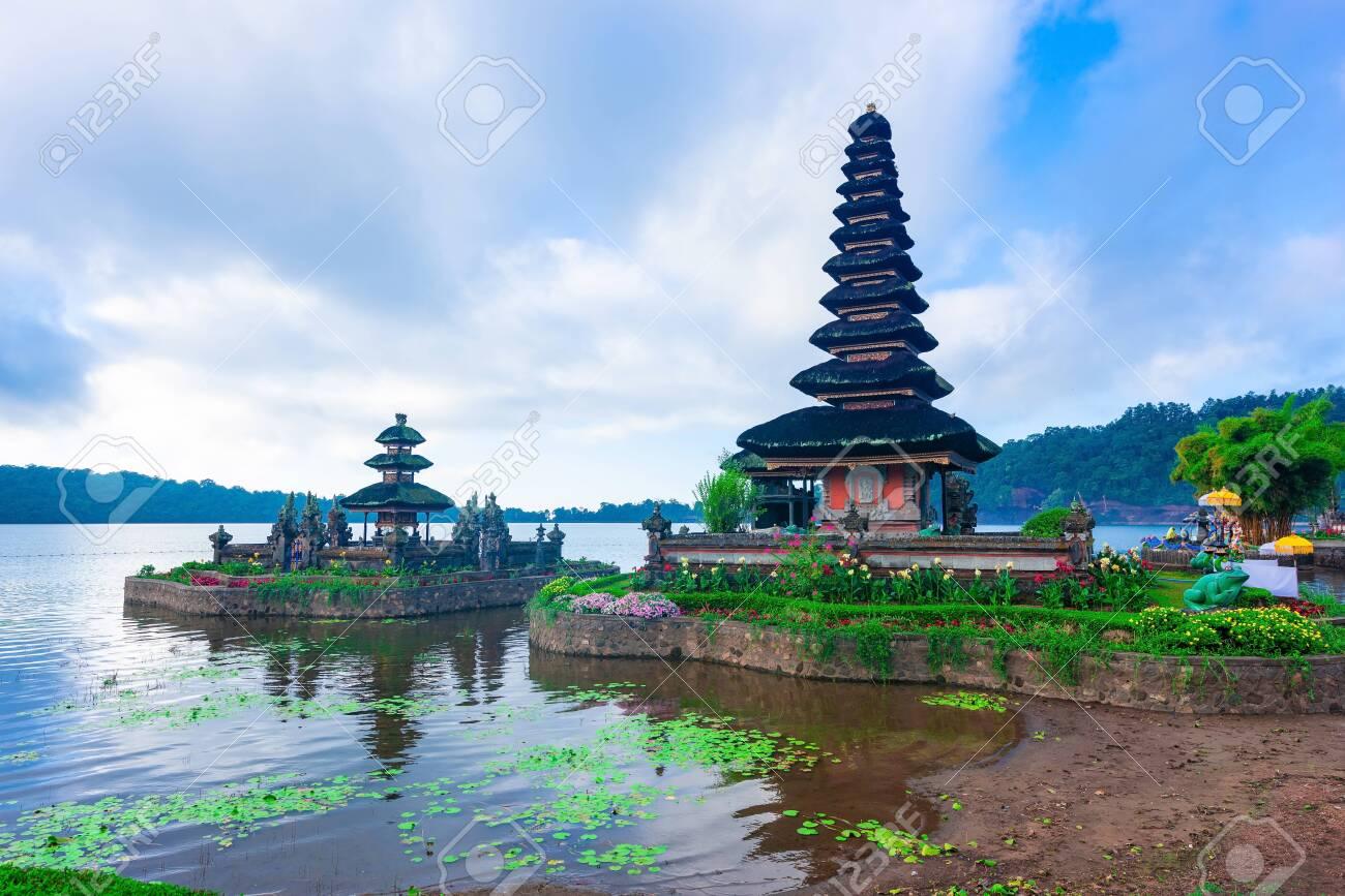 Pura Ulun Danu Bratan Temple Morning Time In Bali Indonesia