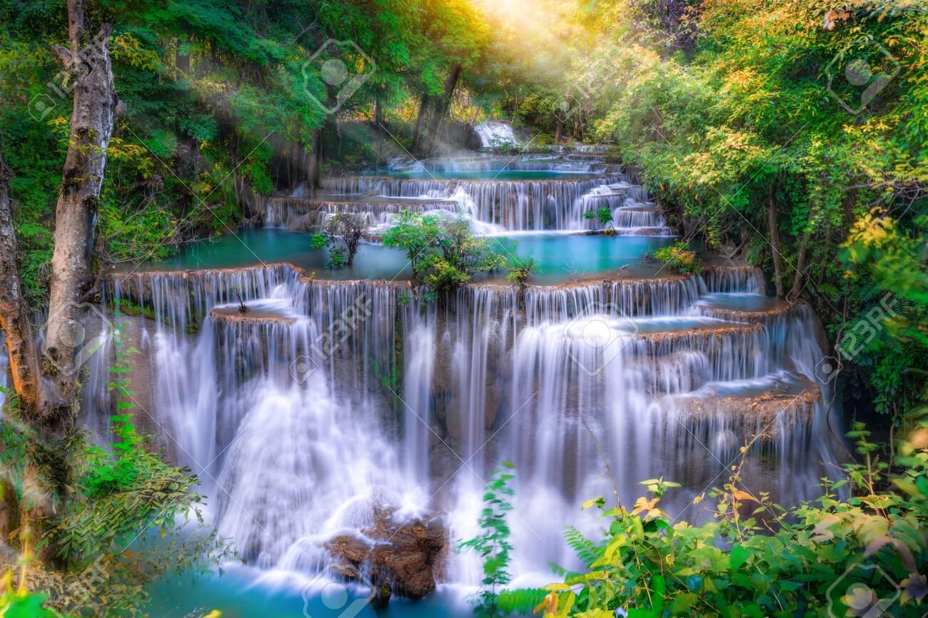 Huai Mae Kamin waterfall(Fourth level) Srinakarin Dam in Kanchanaburi, Thailand - 156393972