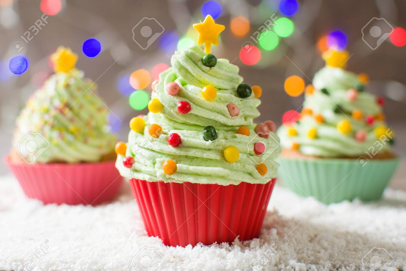 Christmas Tree Cupcakes With Colored Lights Stock Photo, Picture And ...
