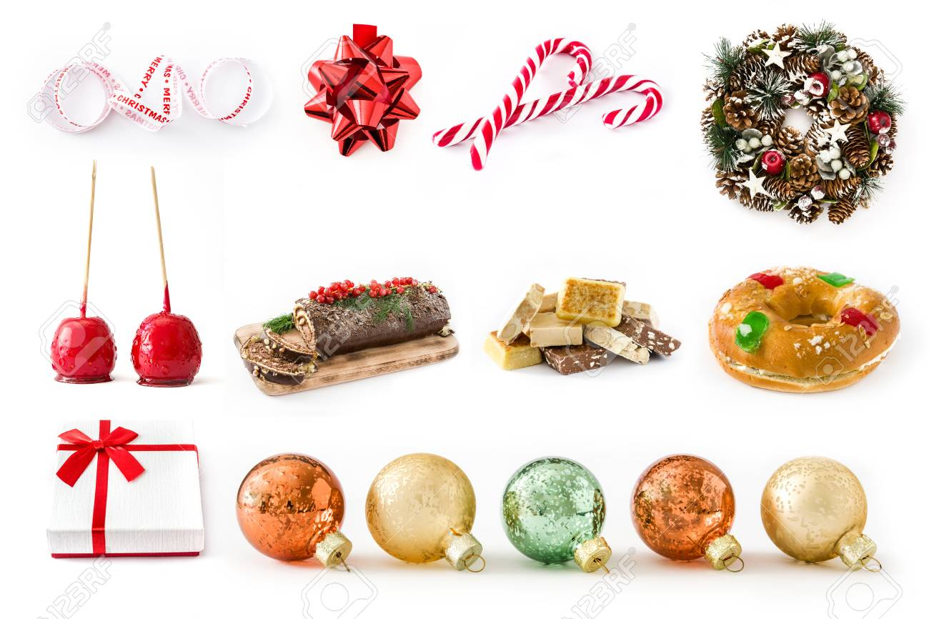 Christmas Collage Christmas Food And Christmas Ornaments