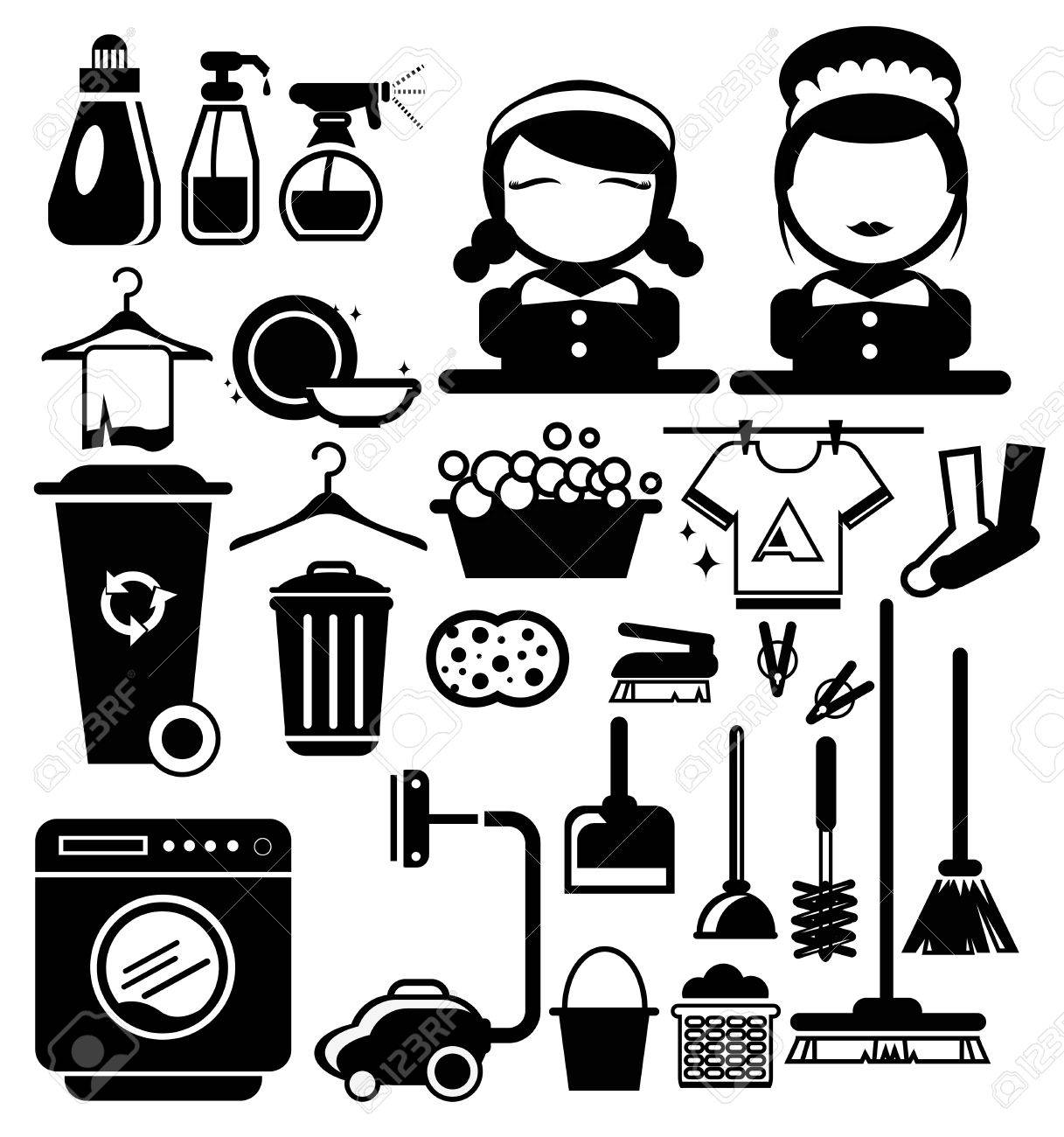 Vector Black Cleaning icons set, Housewife vector - 33439589