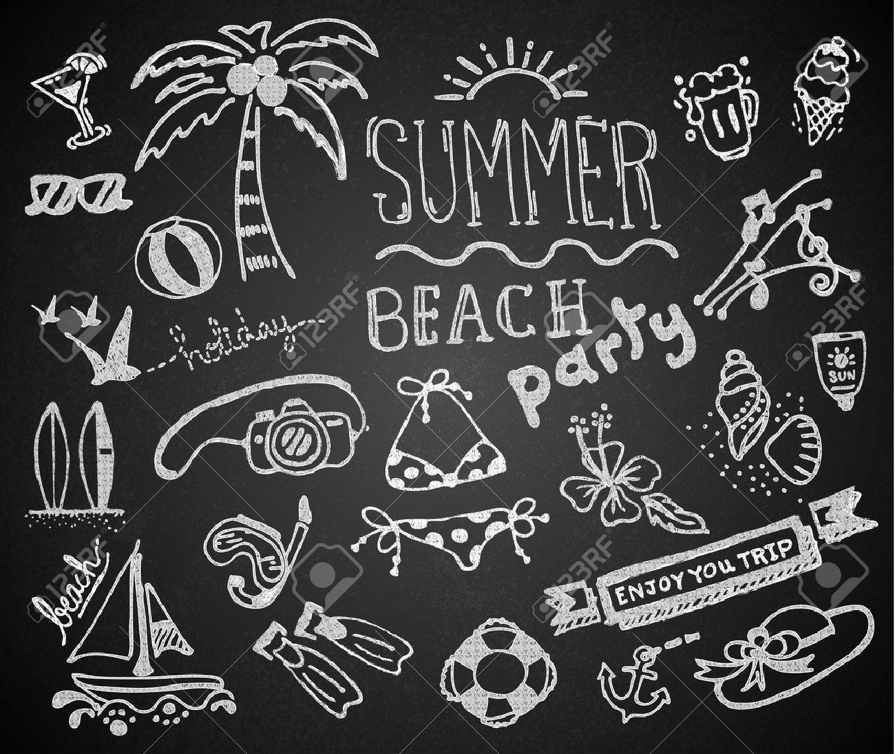 Set of chalk hand drawing summer on blackboard. vector - 34896224