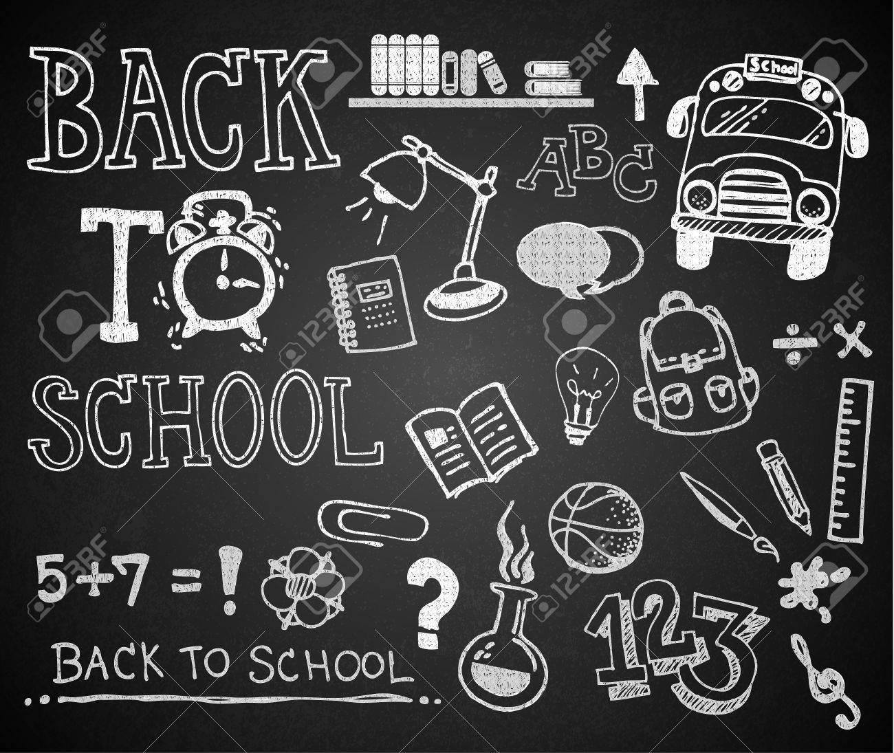 Set De Craie Main Dessin Retour A L Ecole Sur Le Tableau Noir Clip Art Libres De Droits Vecteurs Et Illustration Image 34990670