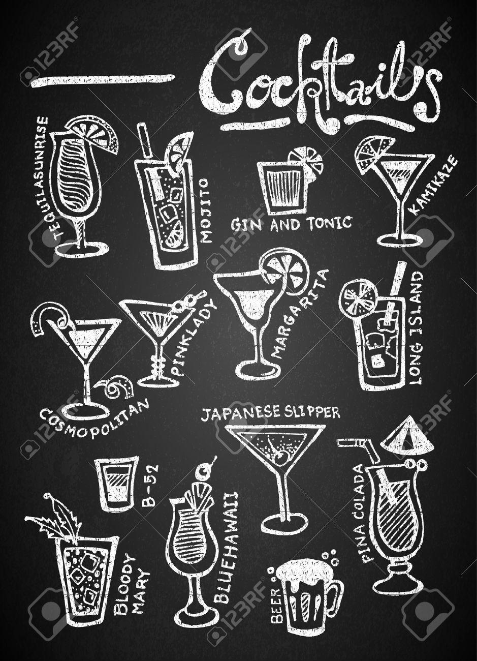 Set of chalk hand drawing cocktails on blackboard - 35069721
