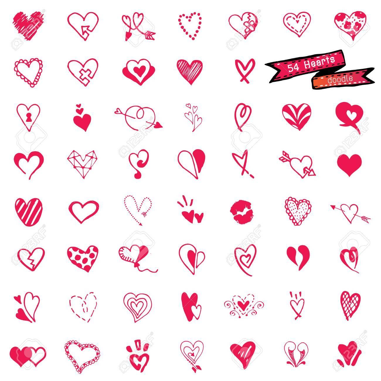 54 Heart set, doodle vector - 35128563