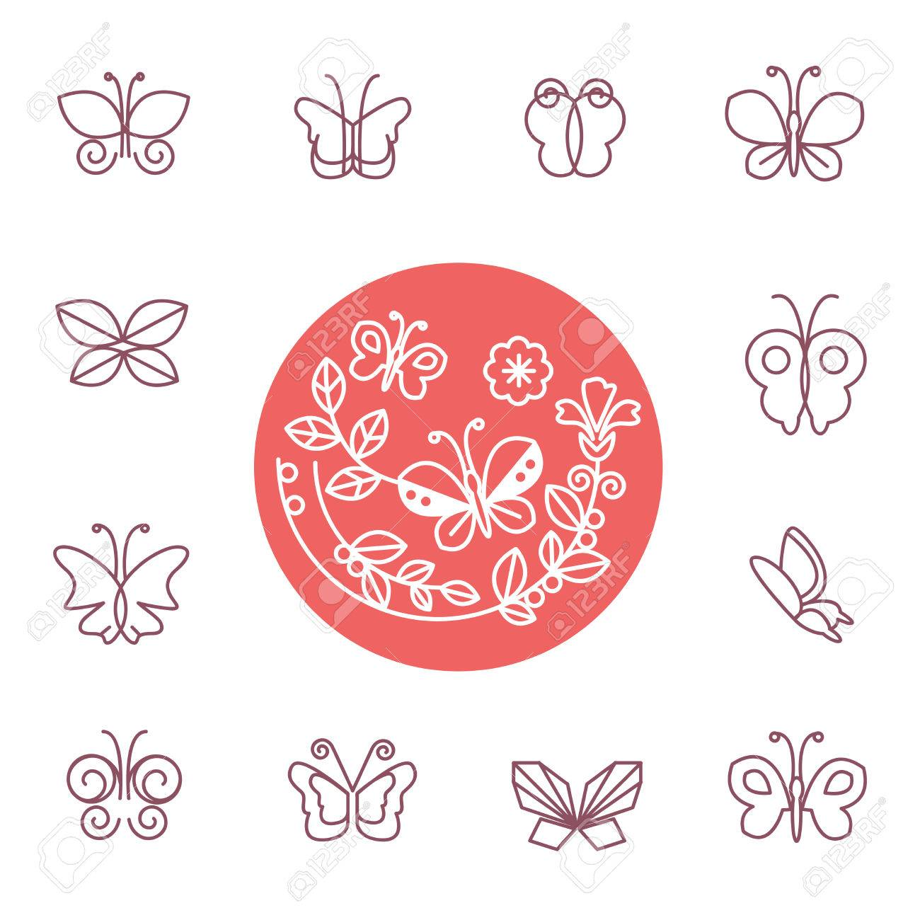 Vector set of line butterfly icons - design elements for cosmetics and organic shops - 36622566
