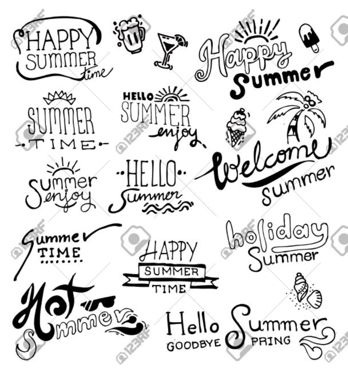 Set of hand drawing summer on blackboard. vector - 37832544