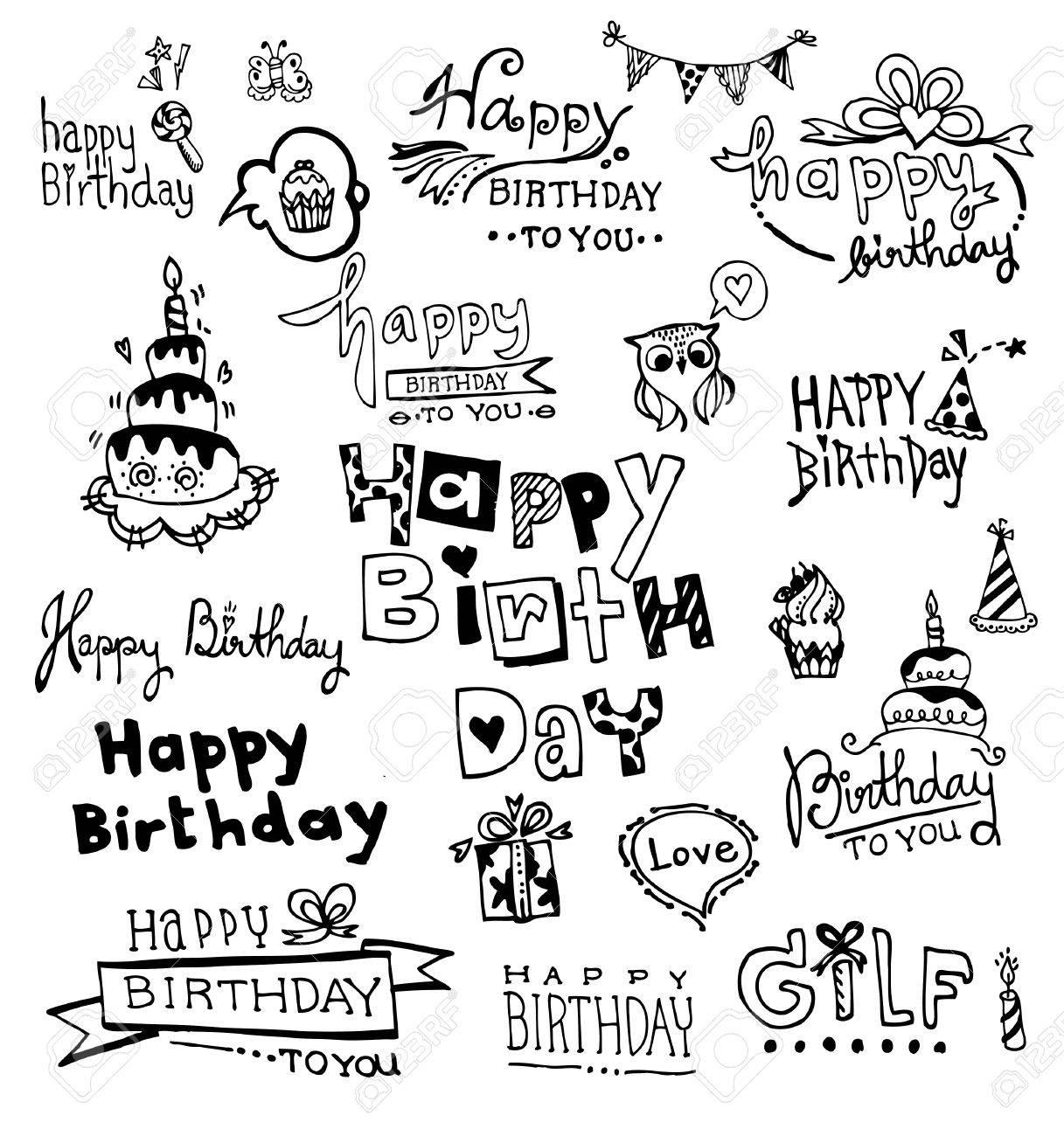 Doodle Happy Birthday, vector illustrations - 38098647
