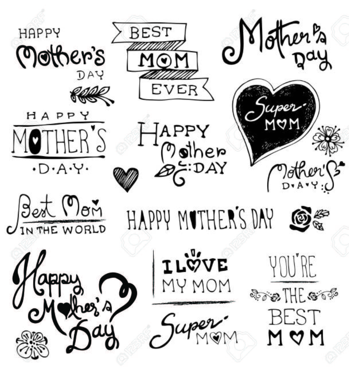 Happy Mothers Day hand drawn typography, Doodles vector illustration - 39239513