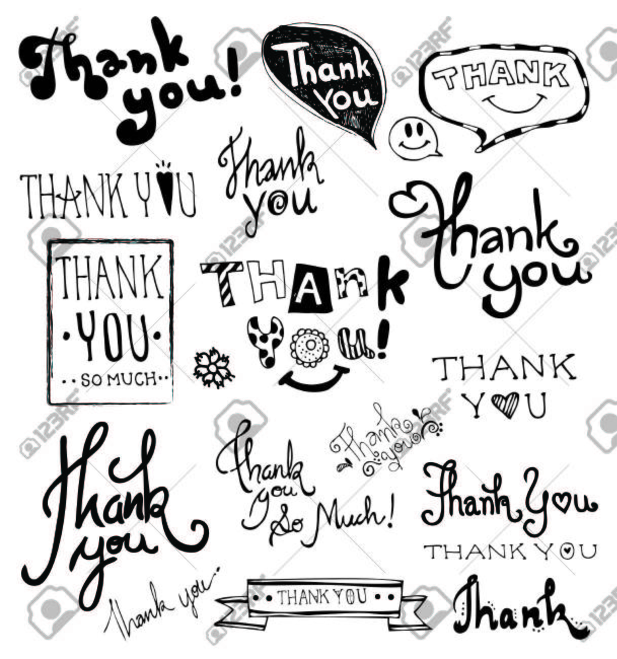 THANK YOU hand lettering. Doodles Hand Drawn vector. - 39445176