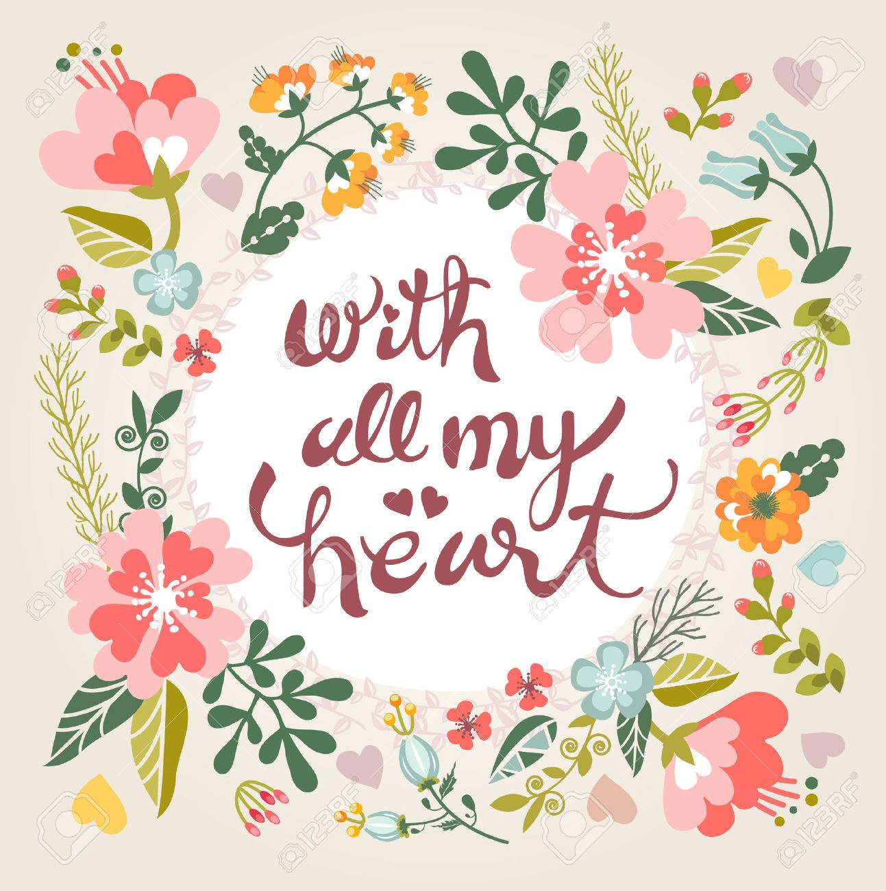 With all my heart. Stylish floral card in bright summer colors. Romantic card - 43402103