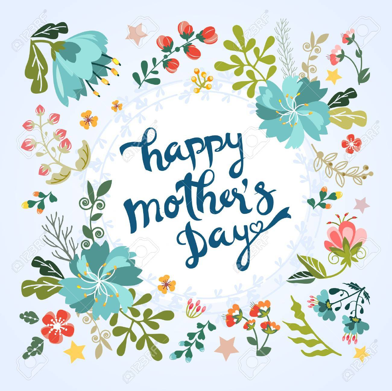 Happy Mothers Day Floral Greeting Royalty Free Cliparts Vectors