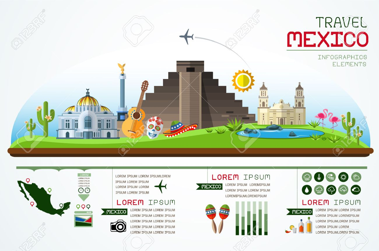 Info graphics travel and landmark mexico template design. - 46156222