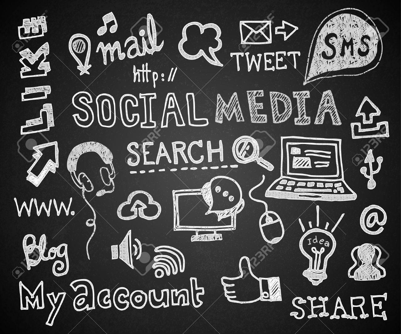 Set of chalk hand drawing social on blackboard. - 46907017