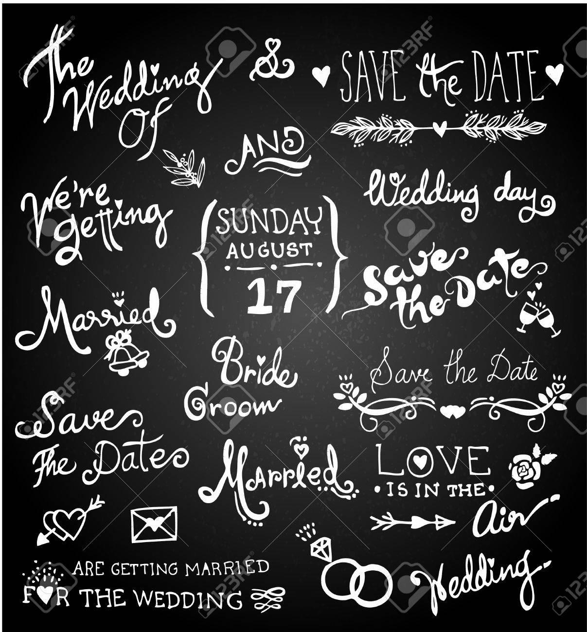 Set of chalk hand drawing wedding on blackboard. - 46907103