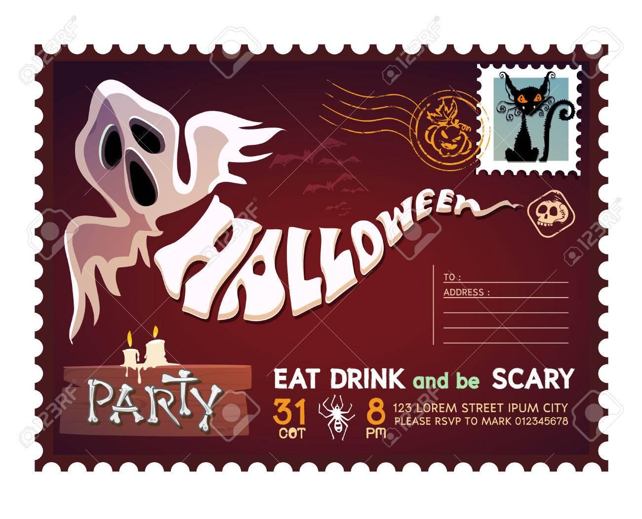 Happy Halloween Postcard invitation background design layout. - 46907235