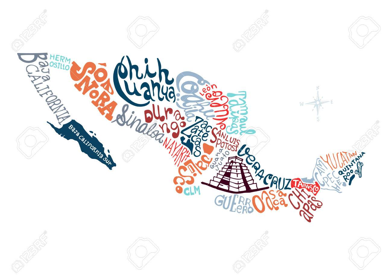 mexico hand drawn map vector illustration, doodle vector illustration - 50430364