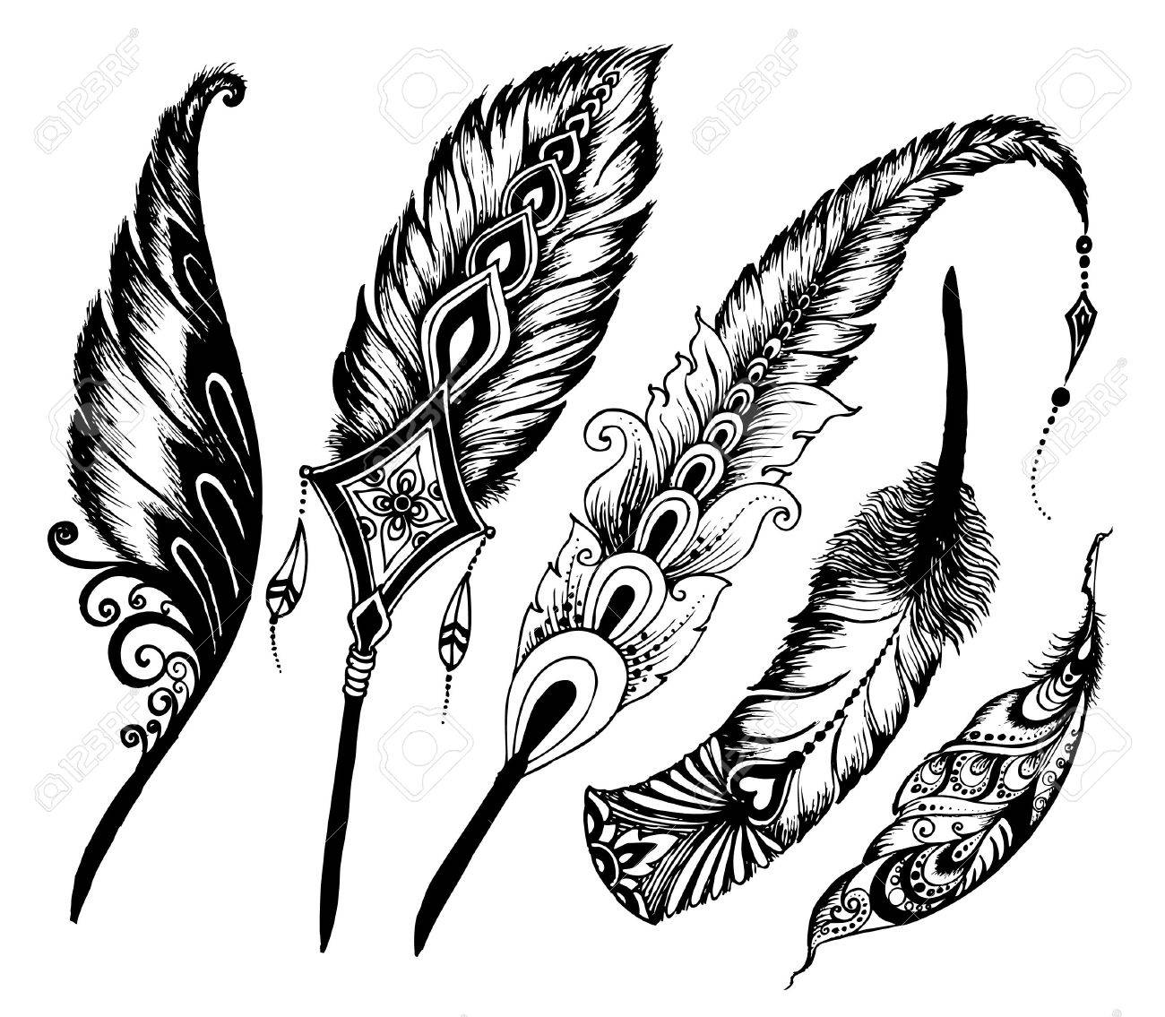 Hand drawn feathers set on white background. doodle vector Set of ethnic feathers. - 58683931