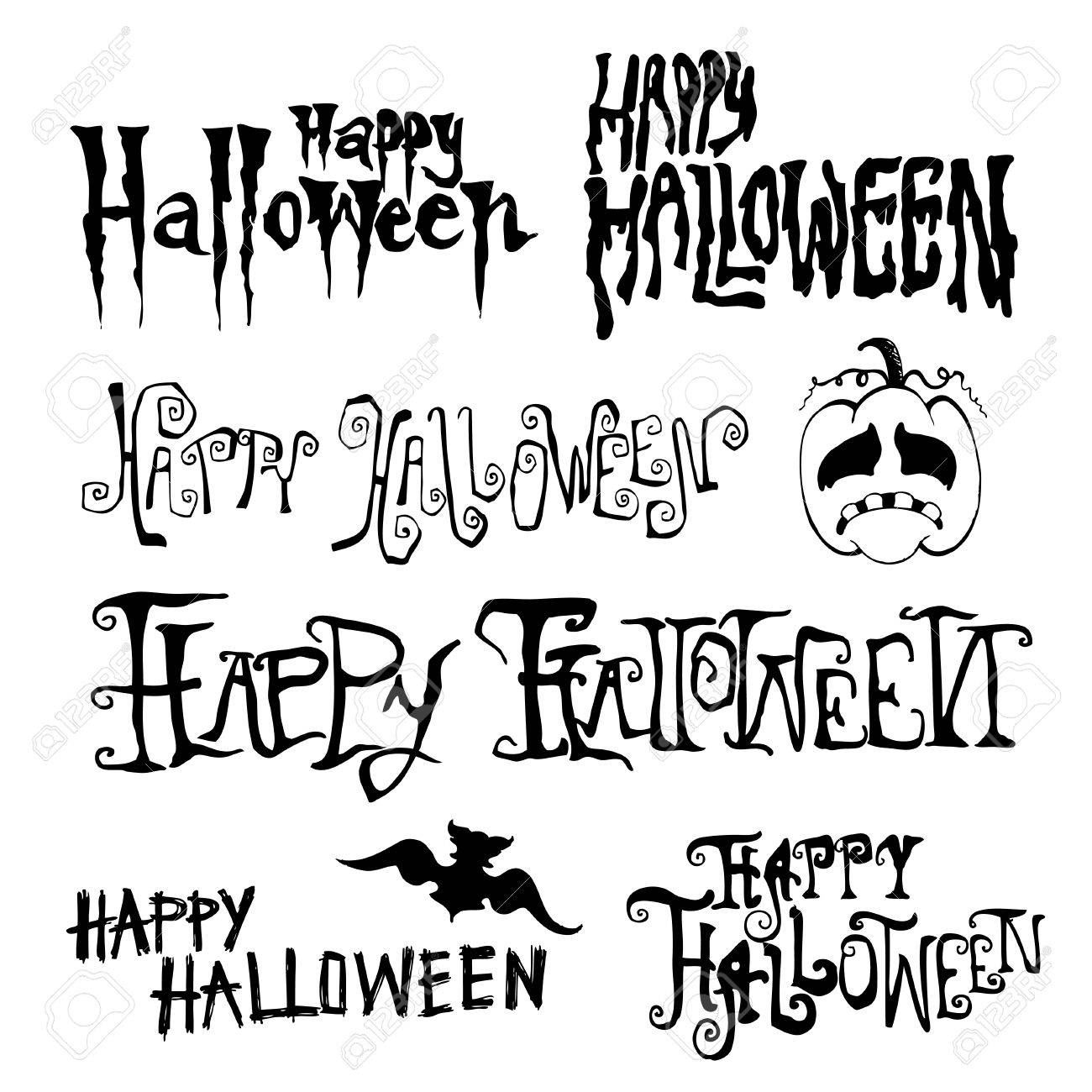 Happy halloween Day hand drawn typography, Doodles vector illustration - 59240664