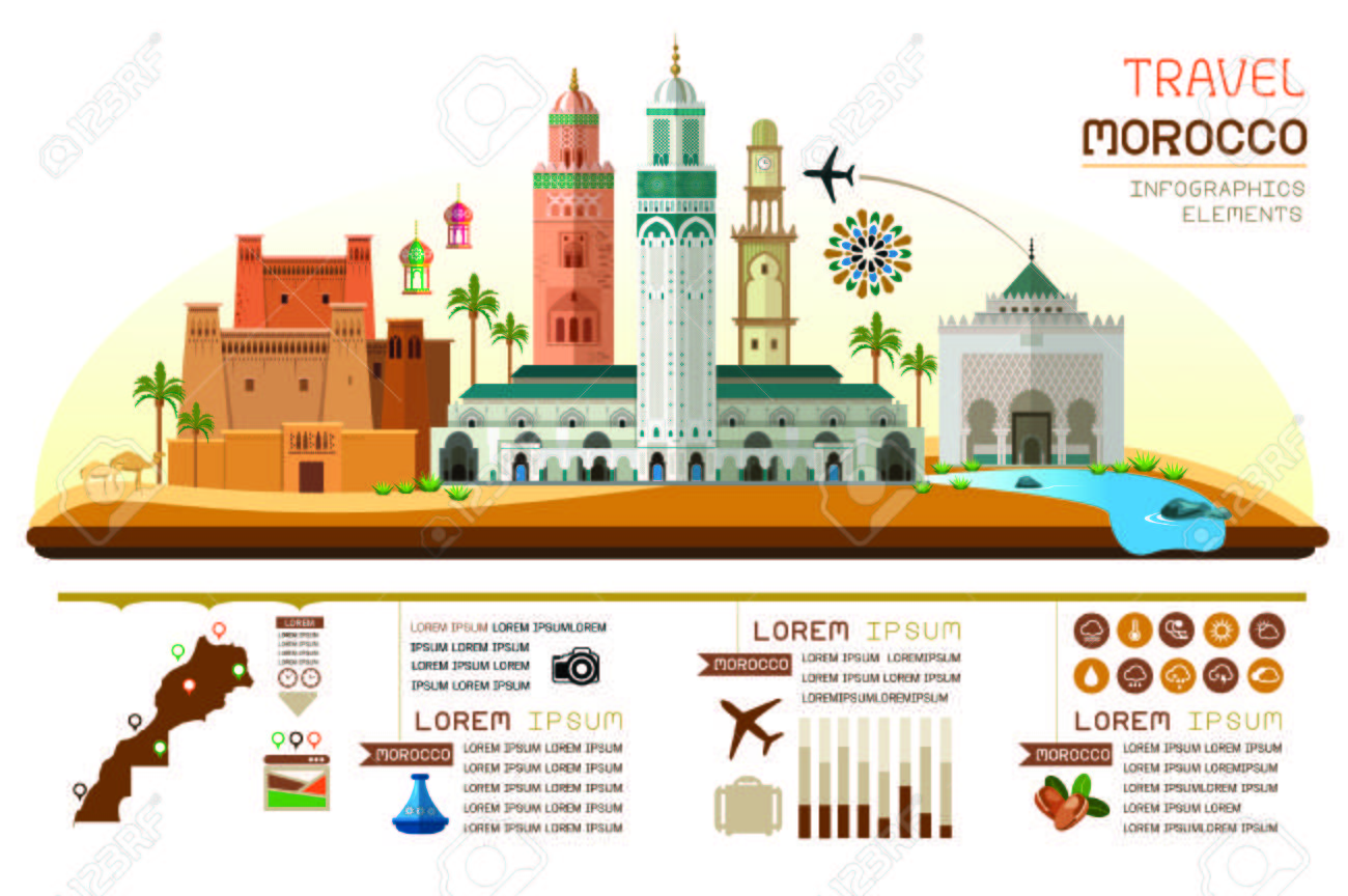 morocco travel infographic. Vector travel places and landmarks. - 115109368