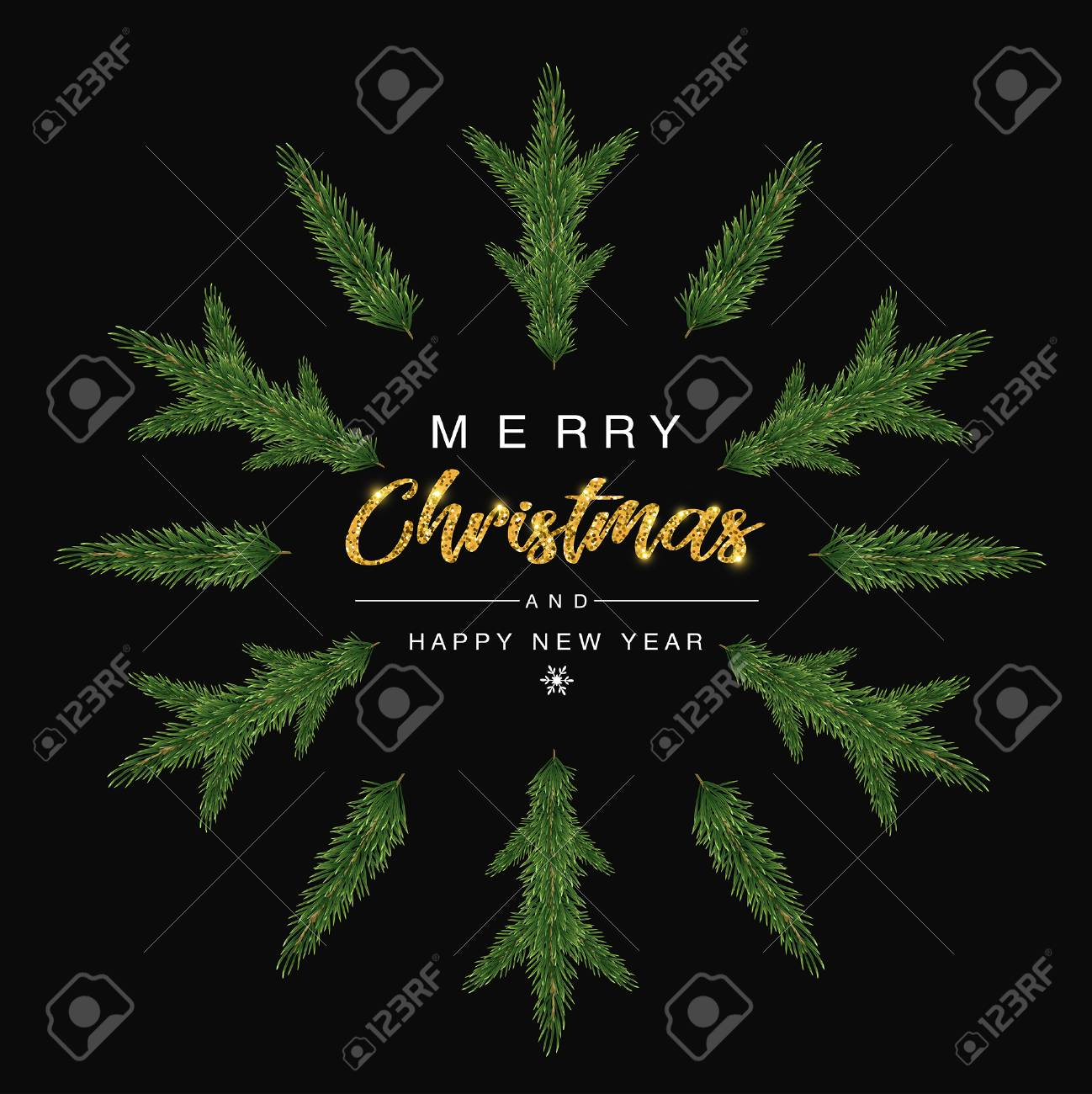 Merry Christmas and happy new year invitation Trendy with Christmas tree designs on snow flakes. Poster, card, label, banner design. Vector illustration. - 115109643