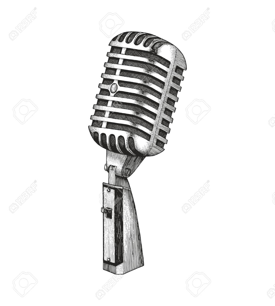 d0ef025dd Vintage Microphone Hand Drawing Royalty Free Cliparts, Vectors, And ...