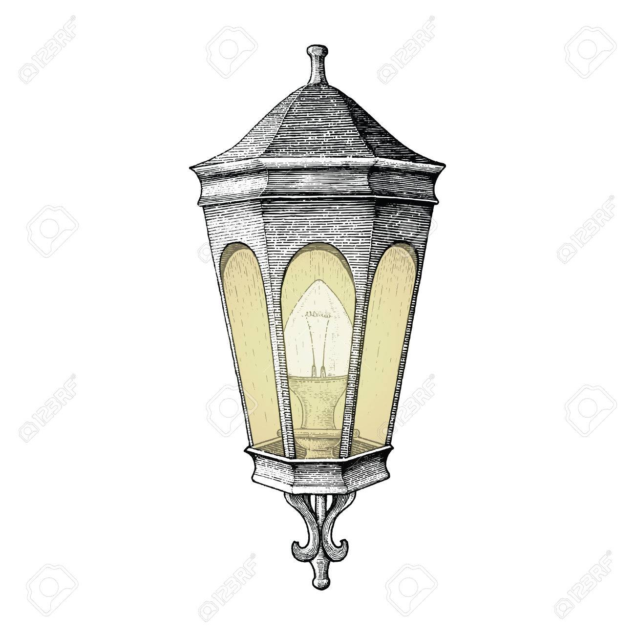 Awesome Vector   Vintage Road Lamp Hand Drawing Engraving Style
