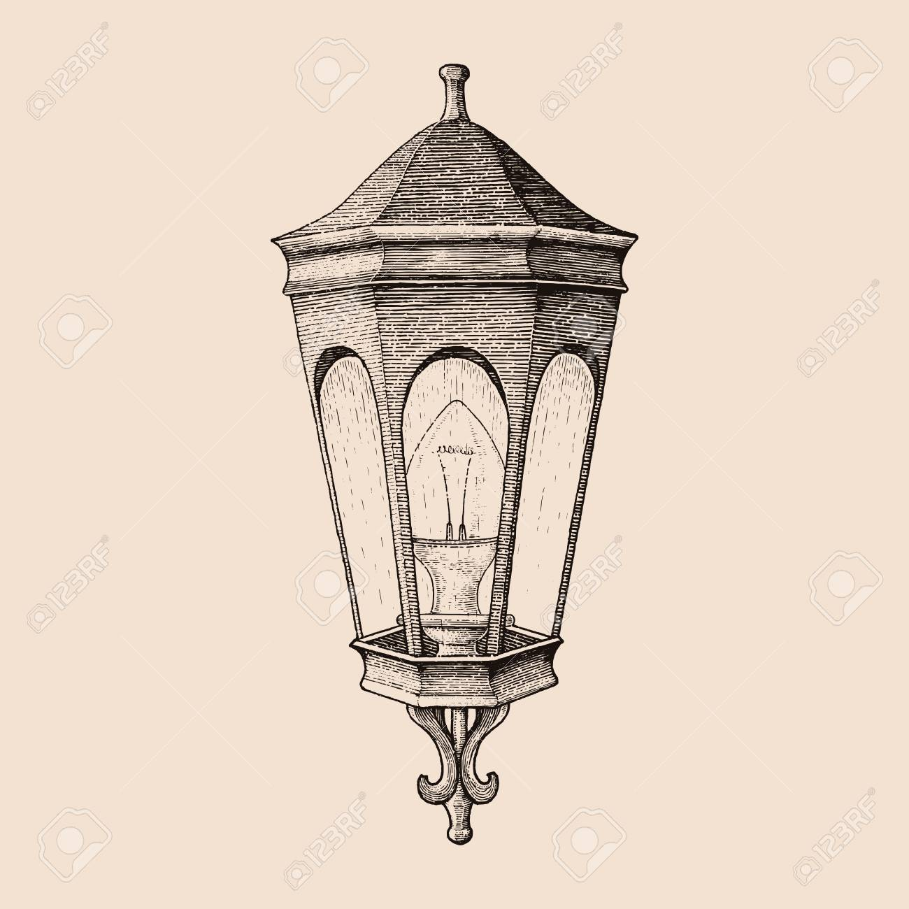 Vintage Road Lamp Hand Drawing Engraving Style Royalty Free Cliparts