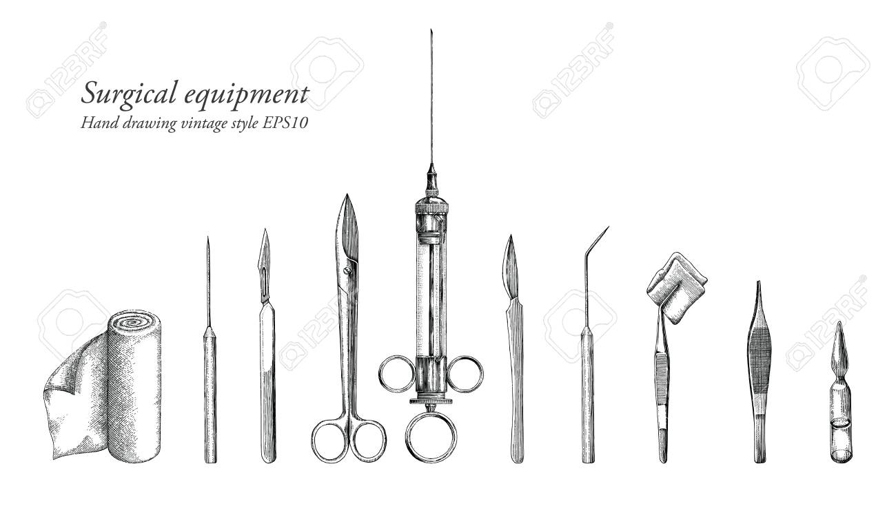 Surgical equipment set hand drawing vintage style - 102872496