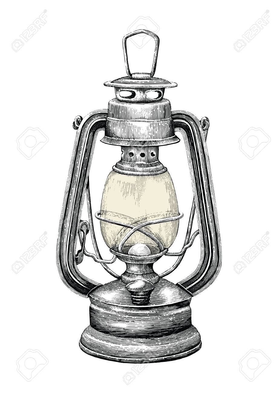 Vintage Lantern Hand Drawing Engraving Style Isolate On White