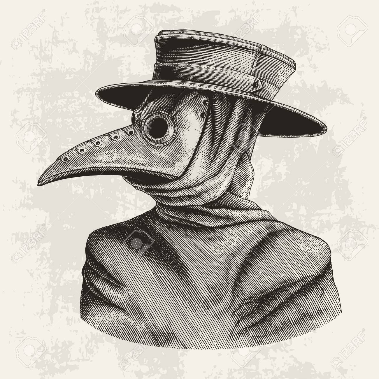 Plague doctor hand drawing vintage engraving isolate on grunge background - 102872614