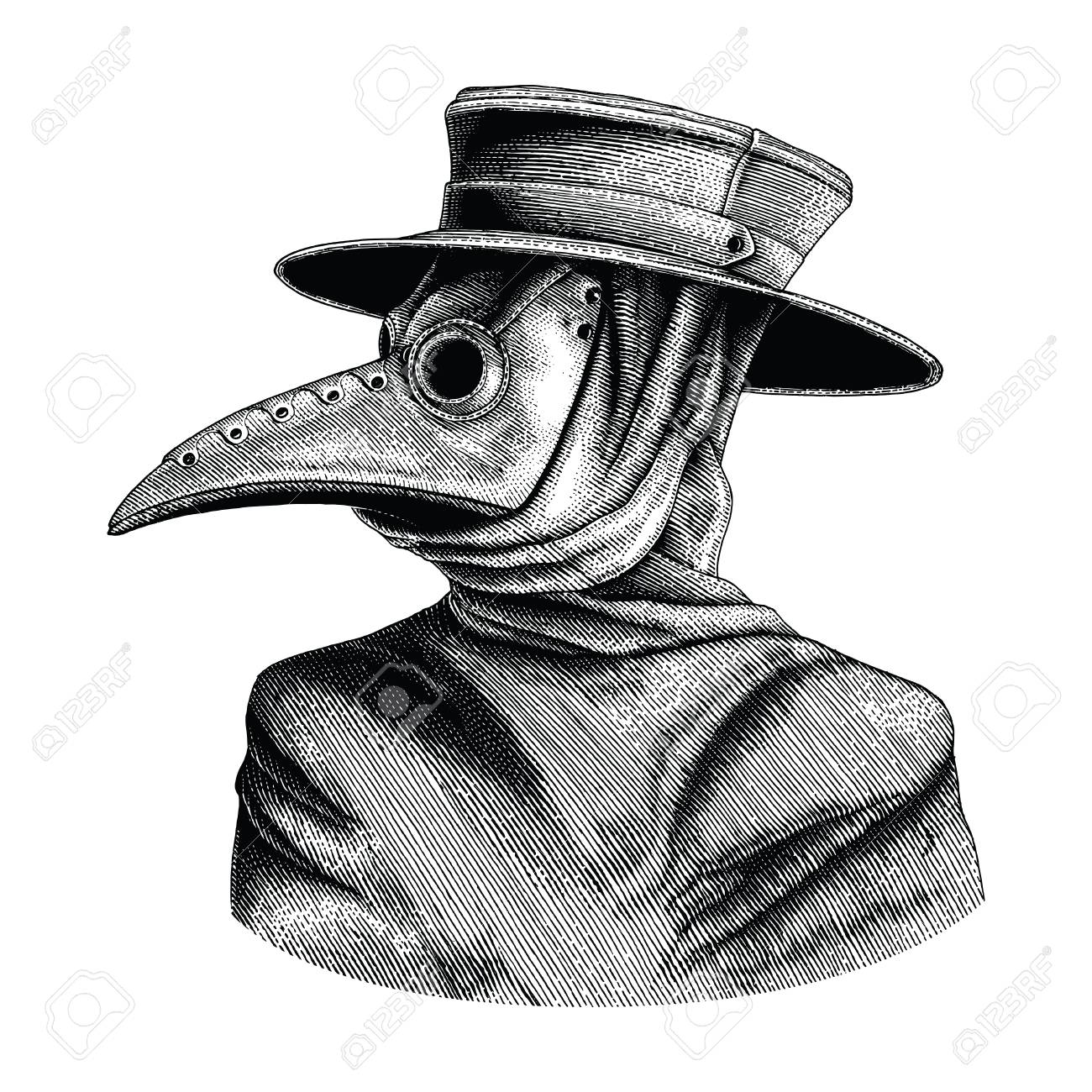 Plague doctor hand drawing vintage engraving isolate on white background - 102872840