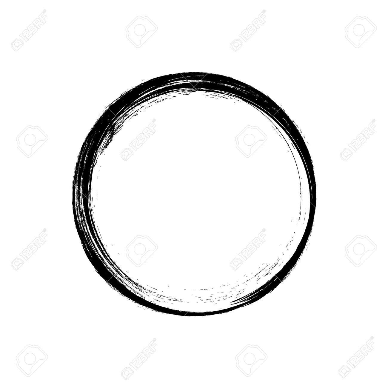 black circle hand drawn concept, circle shaped grunge brush strokes. - 156825005