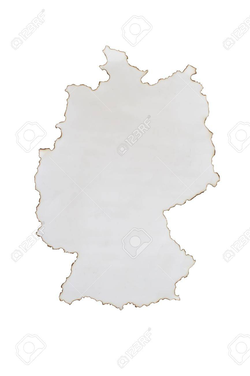 Burn Paper On Germany Map Shape Stock Photo Picture And Royalty - Germany map shape