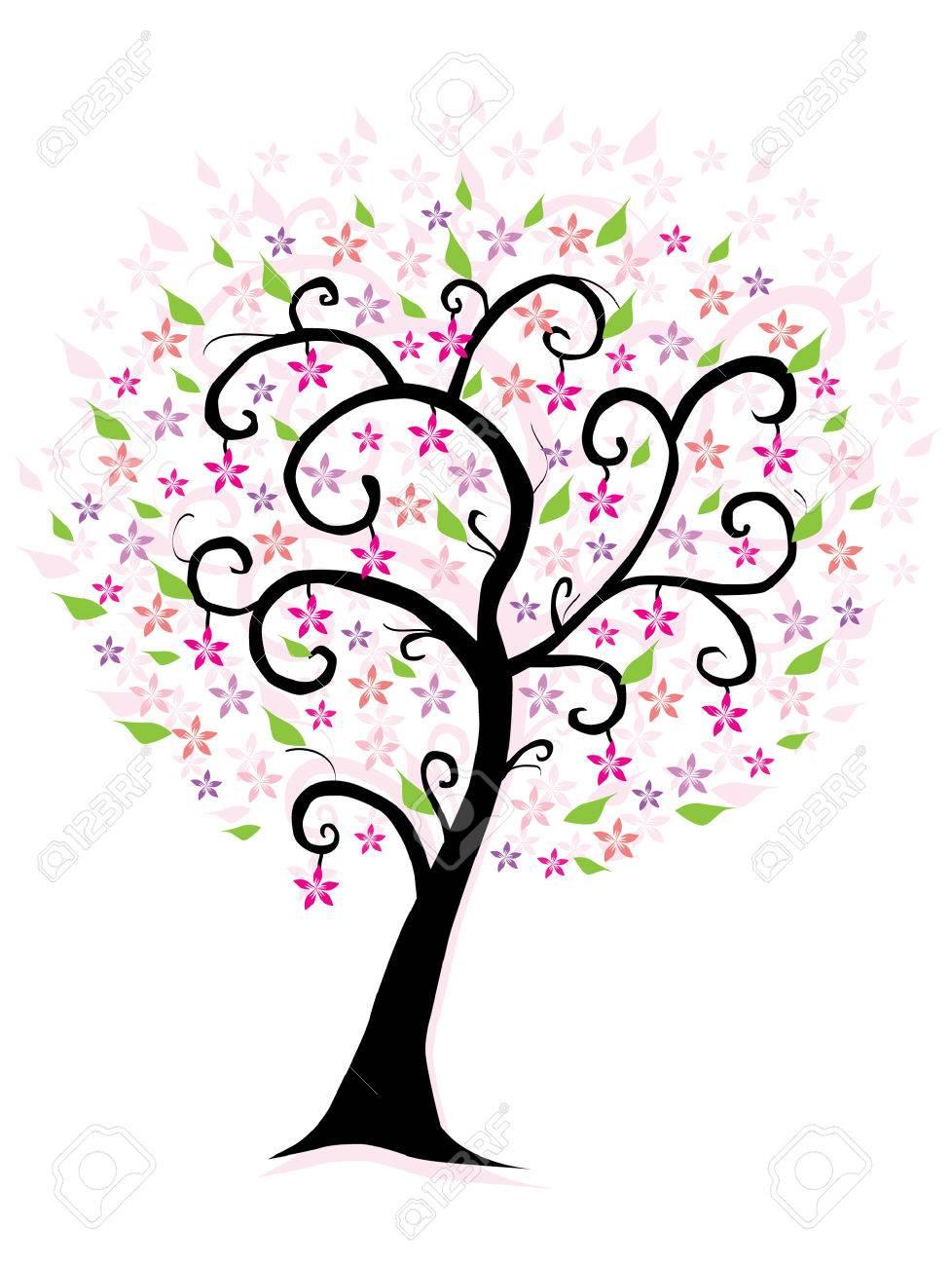 arbre abstrait fleur rose clip art libres de droits , vecteurs et