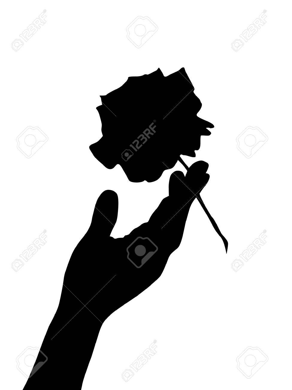 hand silhouette wirh rose Stock Vector - 6823038