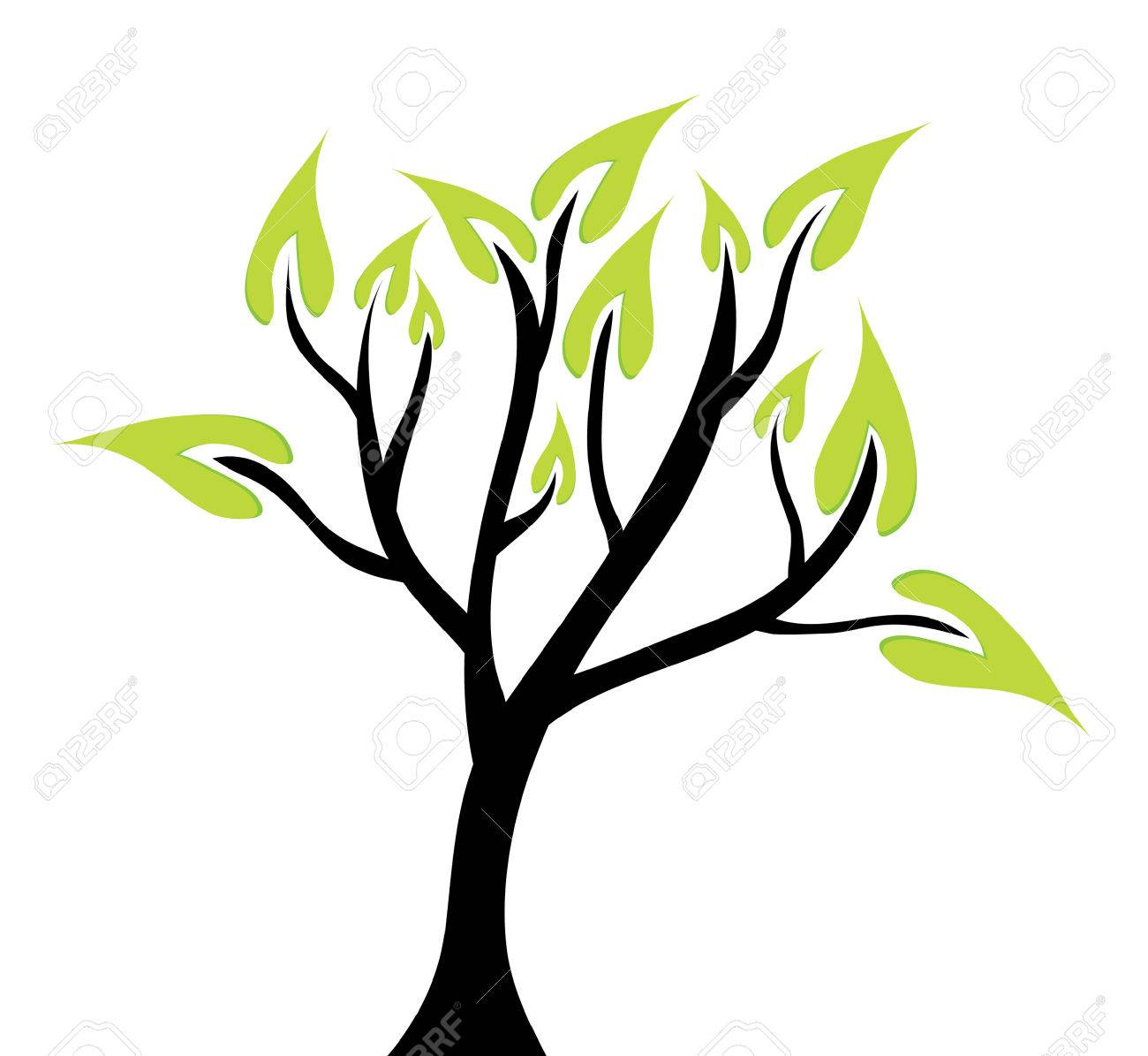abstract green tree, symbol of nature Stock Vector - 8879622