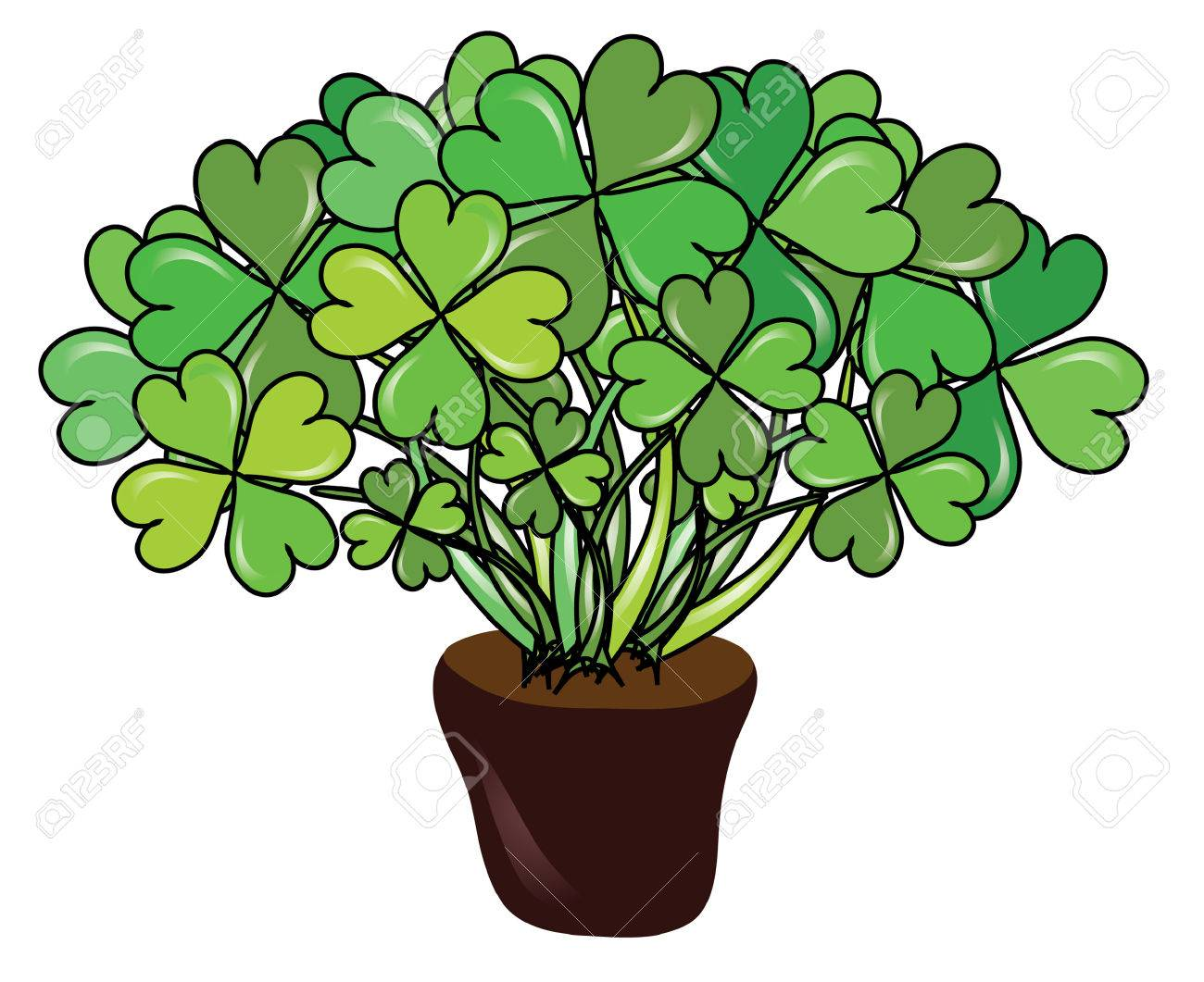 abstract pot with four leaf clovers for St. Patrick's  Day Stock Vector - 8970878
