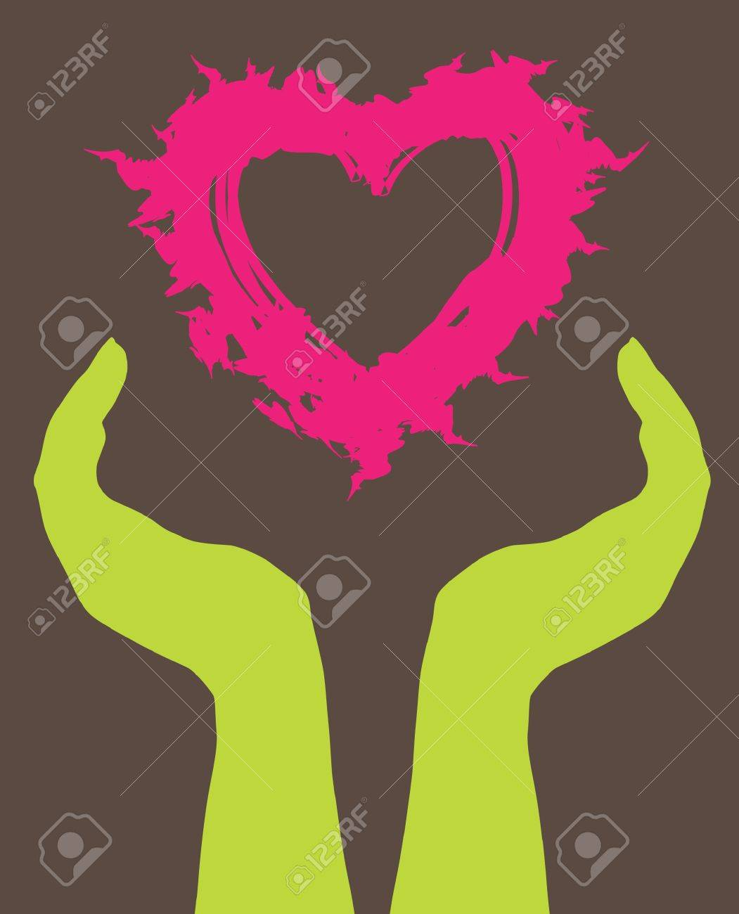 human hands caring heart, symbol of love Stock Vector - 9104771