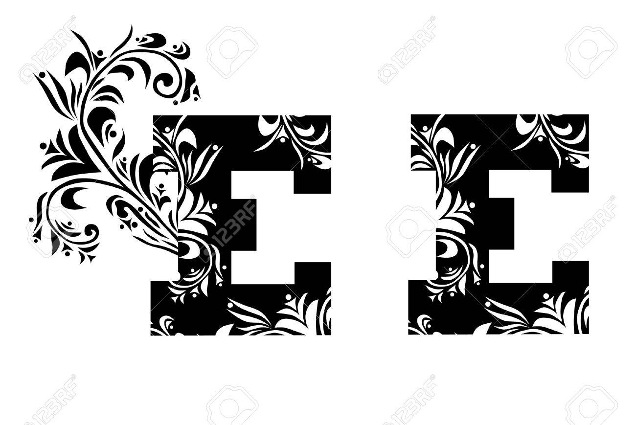 Decorative Letter E For Your Design Royalty Free Cliparts, Vectors