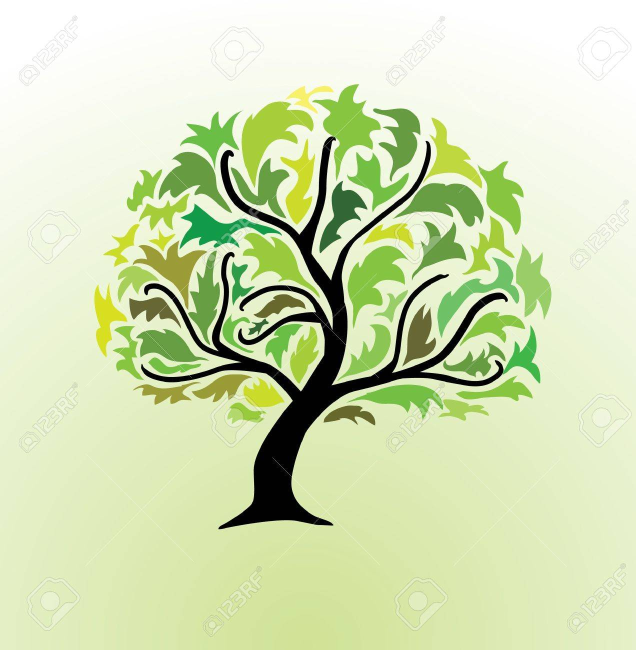 abstract green tree, symbol of nature Stock Vector - 9691511