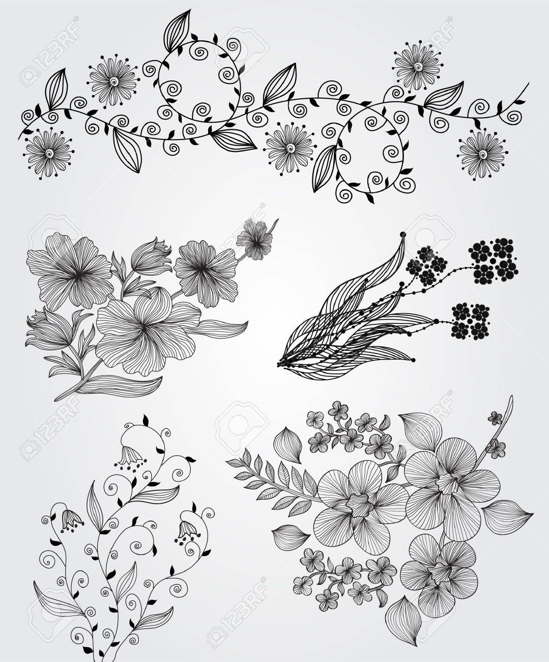 set of decorative floral elements for your design Stock Vector - 11578879