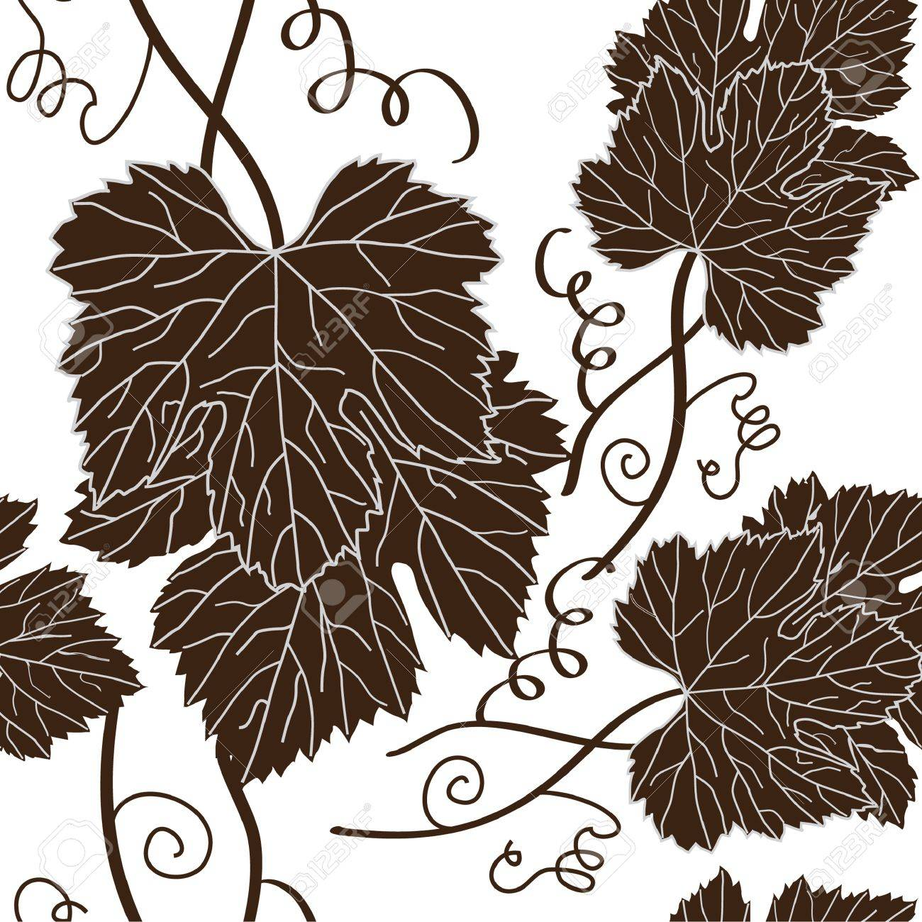 seamless pattern with beautiful grape leaves in brown white colors Stock Vector - 12352701