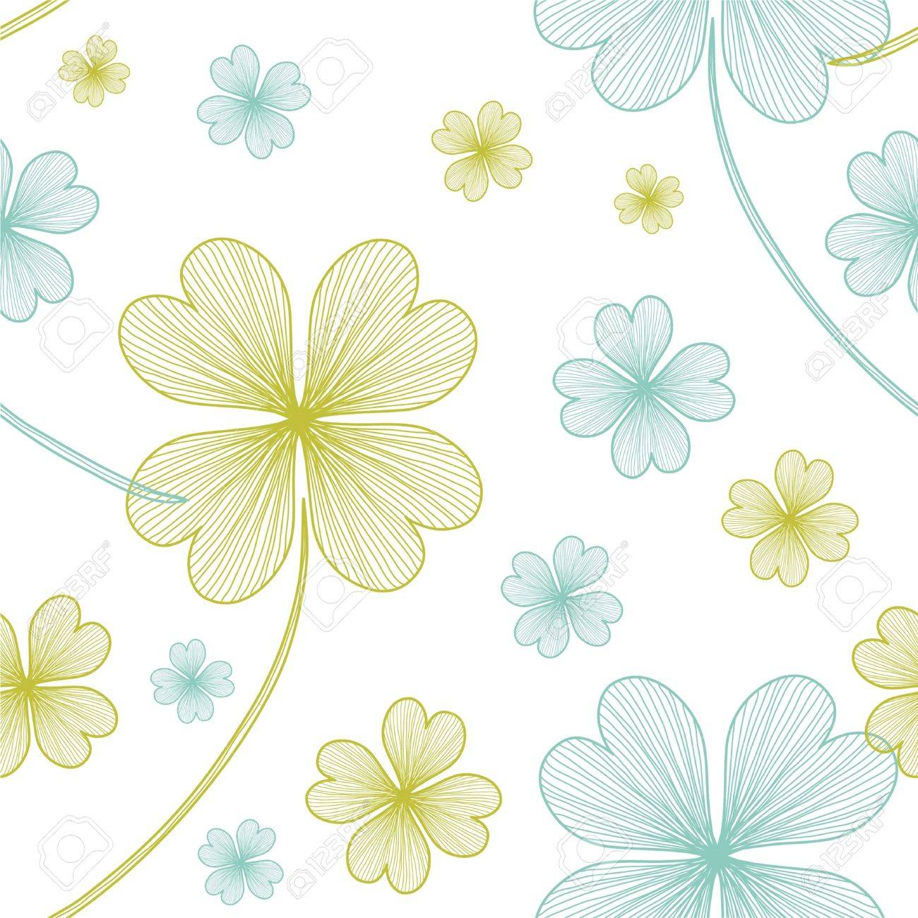 seamless pattern with lucky four leaf clovers for your design Stock Vector - 12773876