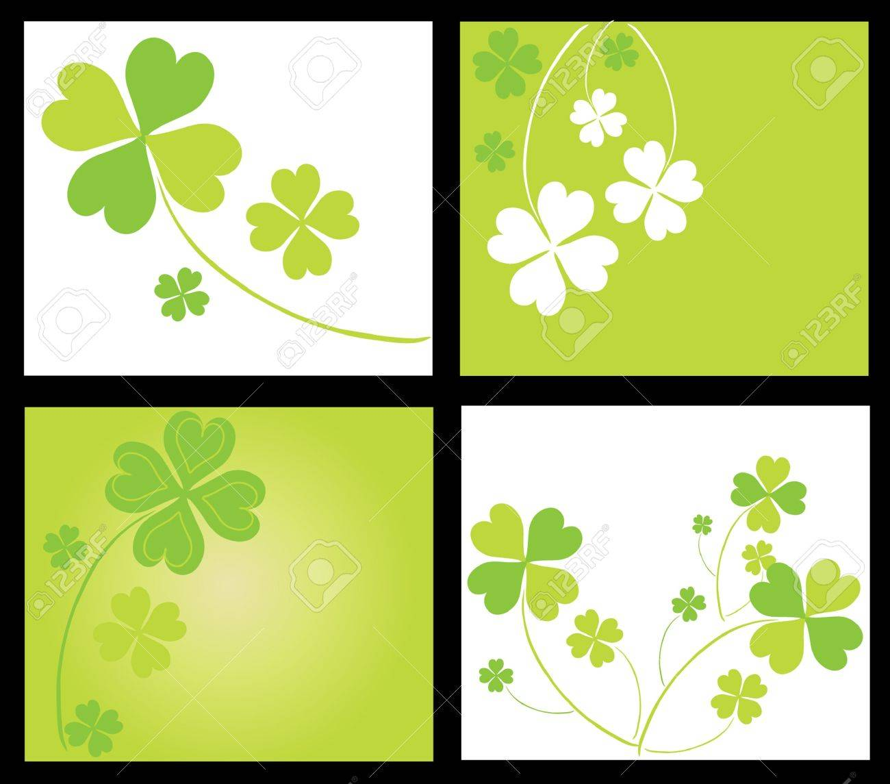 set of 4 invitations for life events with lucky four leaf clovers