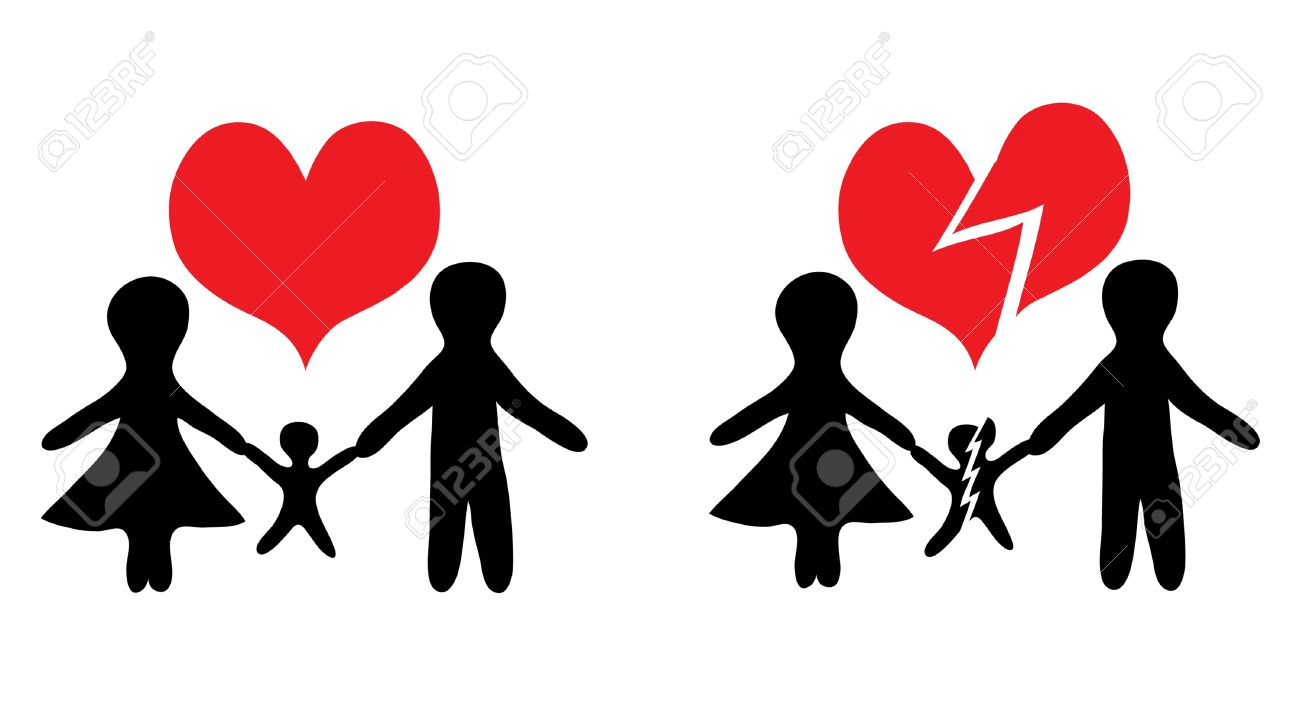 happy family and broken family icons for your design Stock Vector - 13955781