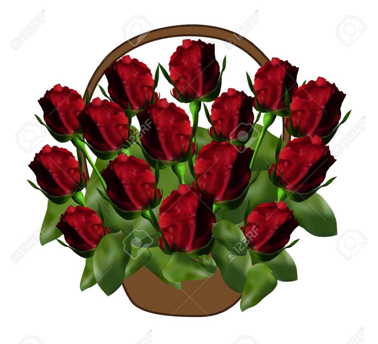 Basket with elegant red roses symbol of love royalty free basket with elegant red roses symbol of love stock vector 15695005 buycottarizona